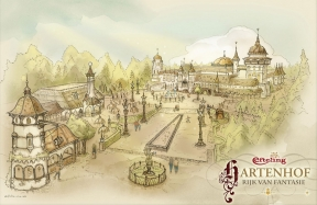 Concept-art of Rijk der Fantasie with Polles Keuken on the left, and Hartenhof in the background.