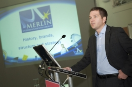 Nick Varney, CEO of Merlin Entertainments Group Ltd, speaks at the first Euro Attractions Show Leadership Breakfast