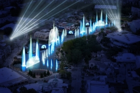 Concept-art d'Universal's Cinematic Spectacular: 100 Years of Movie Memories