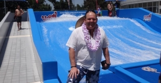 Melbourne Sports and Aquatic Centre's CEO, Simon Weatherill, smiles at the grand opening of the FlowRider