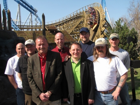 Great Coasters International team present at the WODAN Timburcoaster opening. From left to right: Stan Gemberling, Mats Hummel, Clair Hain, Joe Draves, Dominic Kind, Chris Gray, Bob Paskanik, Darren Davis