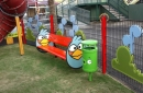 Angry Birds is everywhere including benches, bins and fences.