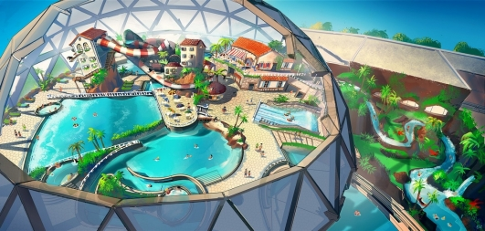 Concept-art du parc aquatique ''Aqua Dome''