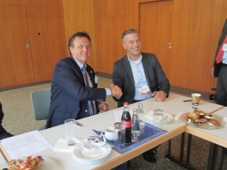 Roland Mack (managing partner for MACK Rides) and Jan Peter Mulder (CEO of Adventure World Warsaw) signed contract for rides to be installed in the future theme park