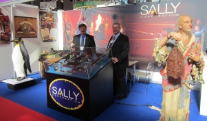 John Wood (left) and Fitz-Edward Otis (right, international sales manager) on Sally Corporation's booth at the Euro Attractions Show 2012
