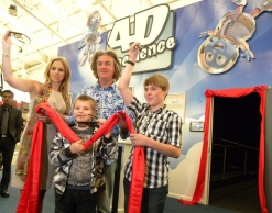 BBC TV Top Gear presenter James May with the winners of a 'VIP for the day' competition