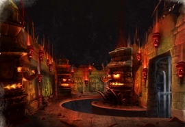 Concept-art of the dark ride section.