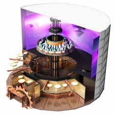 HORAO 360 is a turnkey media-based indoor panorama ride that combines a rising spinning platform and a 360° projection system.