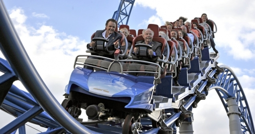 Roland Mack (left) with Chip Cleary (right) enjoying Blue Fire launch coaster at Europa-Park