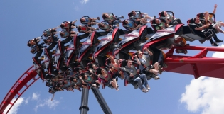 The flagship product at Bolliger & Mabillard today is the Wing Coaster. Photo: X-Flight at Six Flags Great America)